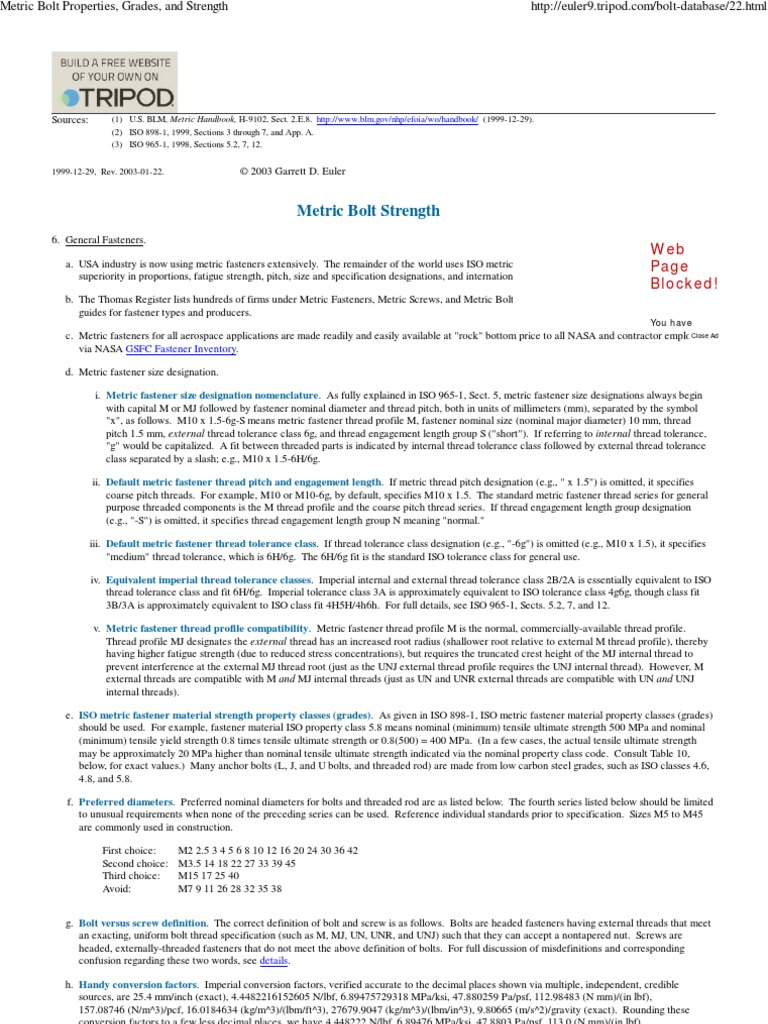 Metric Bolt Properties, Grades, And Strength | Screw | Industries