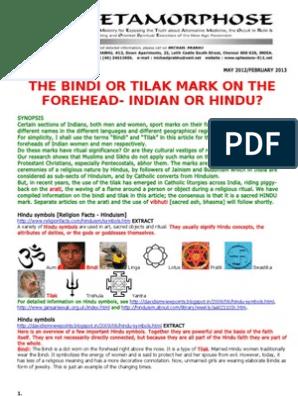 Bindi or Tilak Mark on the Forehead-Indian or Hindu | Indian