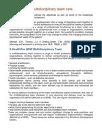 Organised Multidisciplinary Team Care