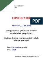 Convocator Sedinta Ordinara Asociatie