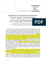 Abdominal Compartment Syndrome Clinical Aspect and Monitoring