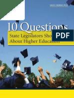 10 Questions Legislators Should Ask About Higher Education