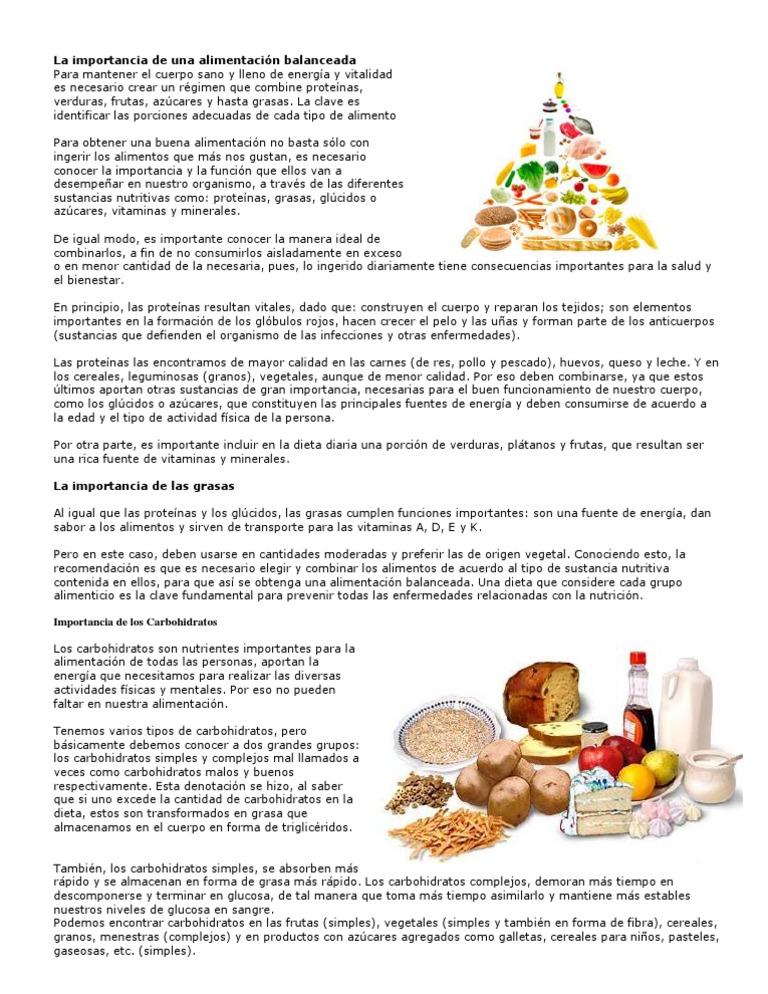 importancia de los glucidos en la dieta diaria