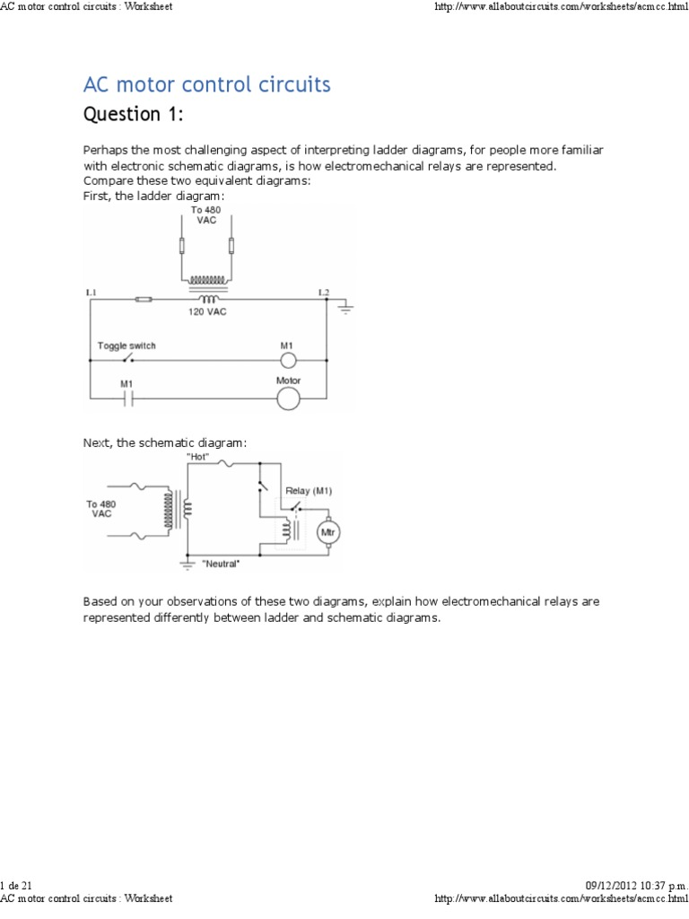 Superb Ac Motor Control Circuits Worksheet Pdf Relay Switch Wiring Cloud Staixuggs Outletorg