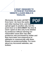 """MY TAGALOG AUDIO BIBLE (ie """"Tagalogbiblya"""") POSTS RECOVERED (in part)"""