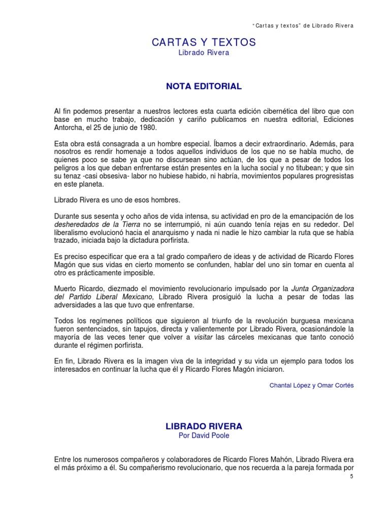 """Cartas y textos"""" de Librado Rivera"""