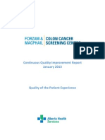 Forzani and MacPhail Colon Cancer Screening Centre patient experience