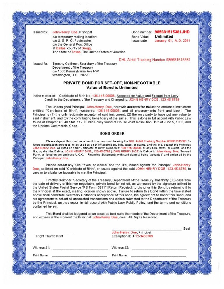 bond bc treasury united states document department code