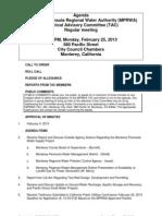TAC MPRWA Regular Meeting Agenda Packet 02-25-13