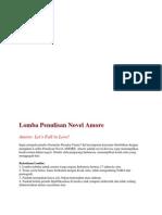 Lomba Penulisan Novel Amore DL 1 Desember 2012