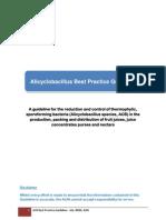Alicyclobacillus Best Practice Guideline