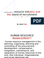 Human Resource Industry and the Stand of Recruitment consultancies