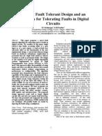 FaA Novel Fault Tolerant Design and an  Algorithm for Tolerating Faults in Digital  Circuits ult Tolerant Design