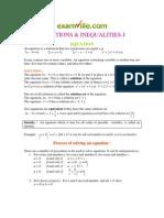 EQUATIONS & INEQUALITIES -I