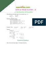 EQUATIONS & INEQUALITIES –II