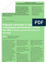 Regional variations in surgical examination performance across the UK