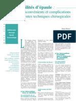 Les Instabilites d'Epaule - Les Differentes Techniques Chirurgicales