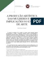 A PRODUÇÃO ARTÍSTICA DAS MULHERES E SUAS IMPLICAÇÕES NO ENSINO DE ARTE