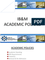 IB&M Academic Policies for MBA
