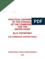 1935 Practical Experiences United Front O. PItanitsky 1935