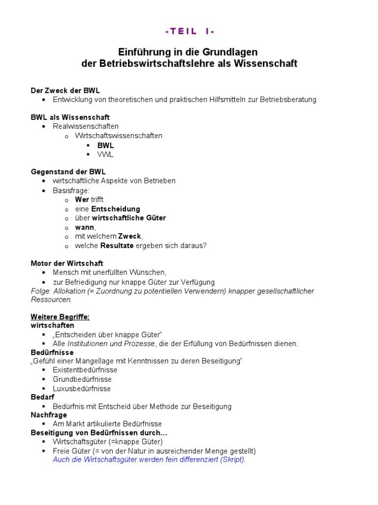 BK03 - Einführung in Die BWL - Zusammenfassung 09