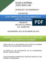 EXPOSICIÓN LOS CAMPOS DE CONOCIMIENTO E INVESTIGACIÓN