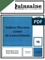 La Quinzaine, Isidore Ducasse comte de Lautréamont.pdf