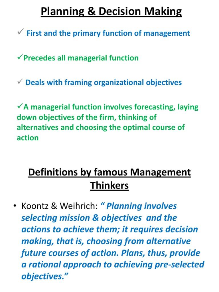 Planning & Decision Making
