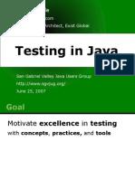Testing in Java David Noble