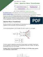 Antenna Tutorials - Quarter Wave Transformer
