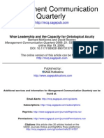 Wise LEADERSHIP and the Capacity for Ontological Acuity