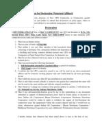 Format for Declaration