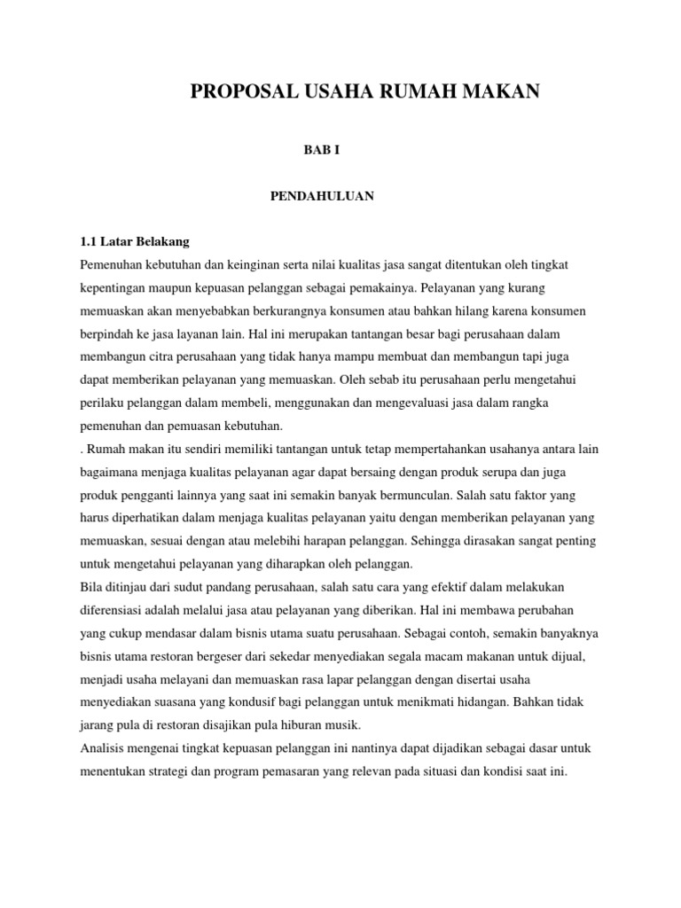 Proposal Usaha Rumah Makan Download Gambar Online