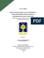 Studi Analisia Harga Satuan Pekerjaan Pada Konstruksi Bangunan Dengan Metode BOW, SNI, Dan Lapangan