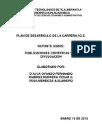 Reporte Sobre Publicaciones Cientificas (Indice y Caratula) 17-01-13