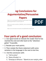 Writing Conclusions for Argumentative