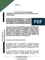 NOTA ELECCIÓN COMO PRESIDENTA ALIANZA PAISAJES CULTURALES