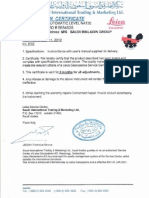 Level Calibration Certificate