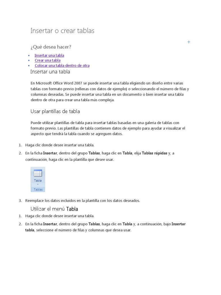 Word- Insertar o Crear Tablas
