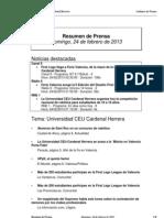 Resumen Prensa CEU-UCH 24-02-2013