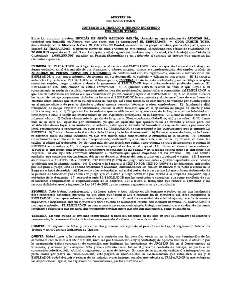 Contrato de trabajo indefinido medio tiempo for Contrato indefinido ejemplo
