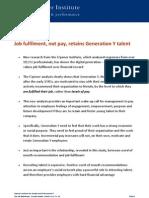 Job fulfilment, not pay, retains Generation Y talent.
