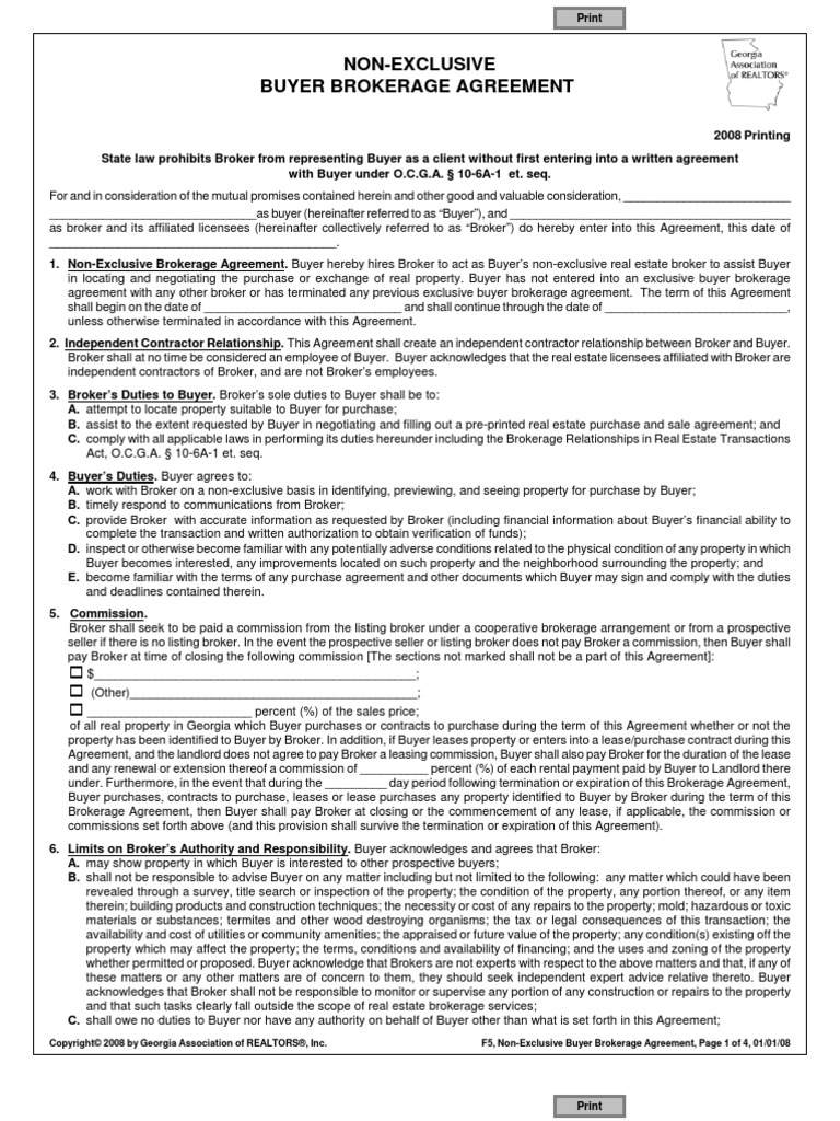 Non Exclusive Buyer Agreement Real Estate Broker Law Of Agency