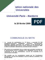 Coordination Nationale Des Universités Université Paris - Nanterre Le