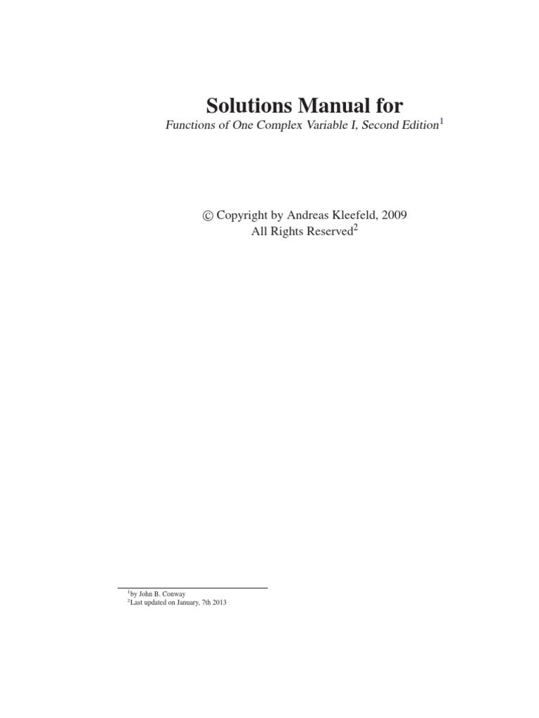 Solutions Functions of One Complex Variable I, Second Edition by John B.  Conway | Continuous Function | Power Series