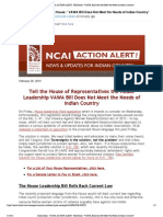NCAI - VAWA ACTION ALERT - Tell House VAWA Bill Does Not Meet the Needs of Indian Country