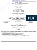 ARUBA NETWORKS, INC. 8-K (Events or Changes Between Quarterly Reports) 2009-02-20