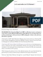 IHC Issues Contempt of Court Notice to CM Raisani | DAWN.com