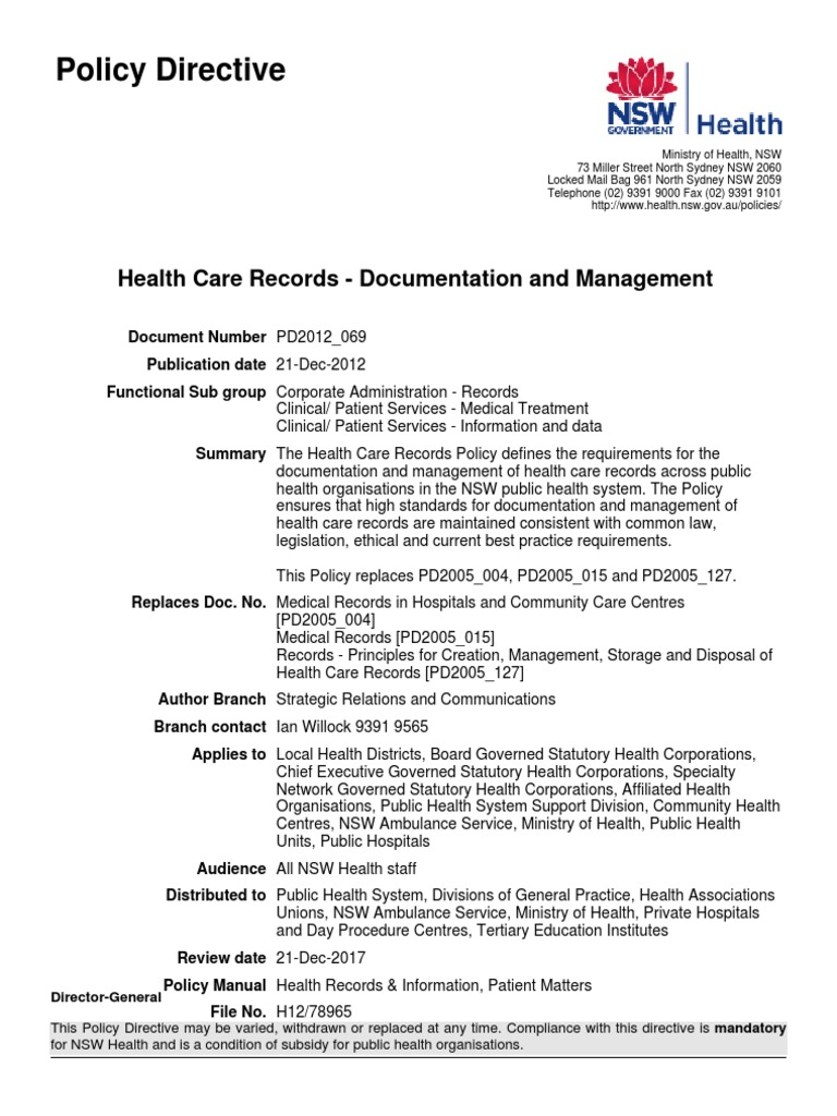 Nsw Health Pd2012 069 Medical Record Health Care