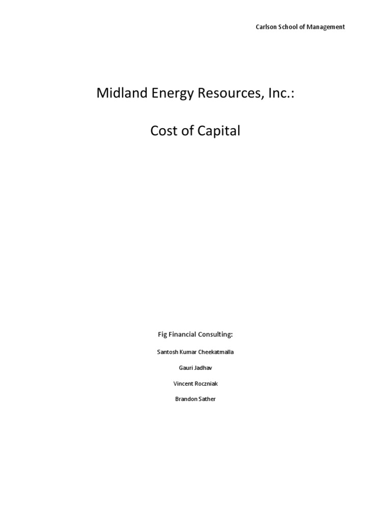 midland energy resources inc cost of capital solutions